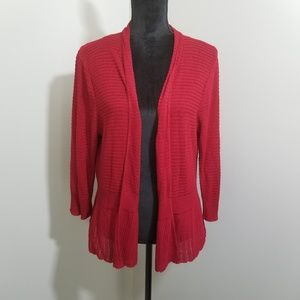 Roz & Ali Open Front Peplum Red Sweater SZ 3X